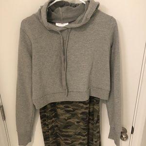 Camo dress and midi sweater combo